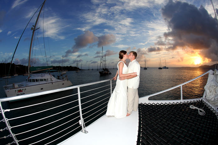 Sunset weddings in Saint Thomas US Virgin Islands, Caribbean on a Catamaran